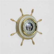 Настенный барометр Штурвал. Цвет — эмаль с платиной