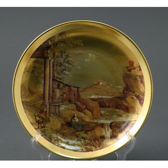Тарелка декоративная золотая пейзаж d=21см, без.уп.