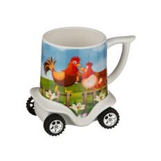Кружка на колесиках Петух и курица