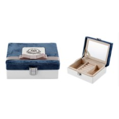 Шкатулка для ювелирных украшений с синим бархатом