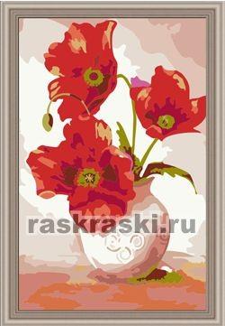 Раскраска по номерам Menglei Маки в вазе