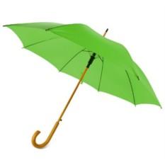 Зеленый полуавтоматический зонт-трость с деревянной ручкой