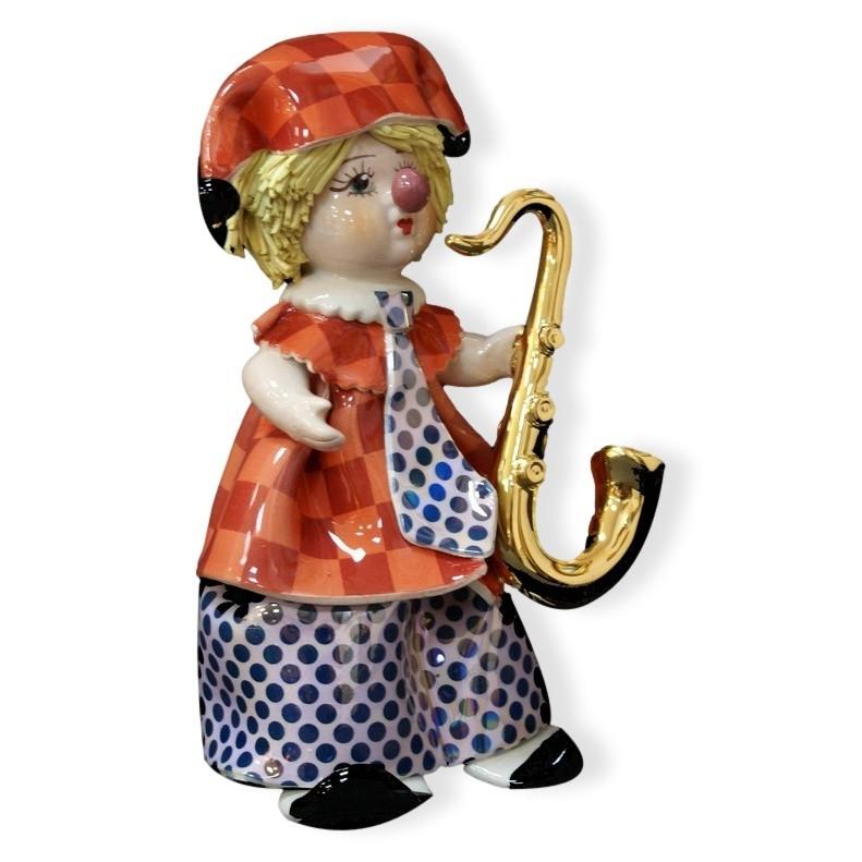 Статуэтка из фарфора Маленький клоун с саксофоном ZamPiva
