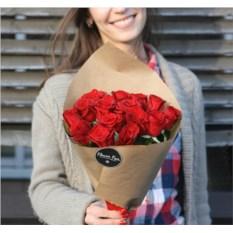 Букет из 15 красных роз высотой 40 см