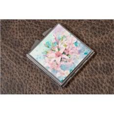 Карманное зеркальце Розовые цветы (белый)