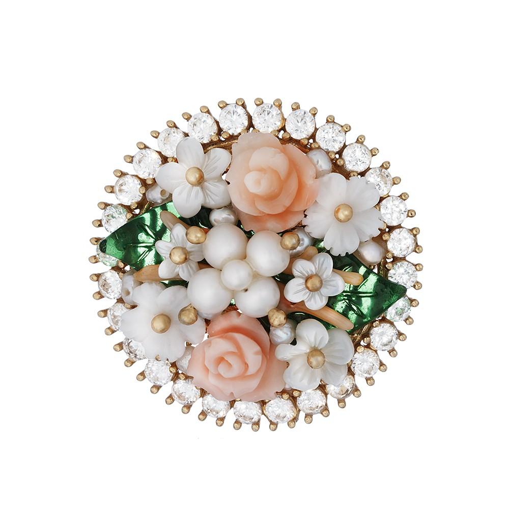 Позолоченое серебряное кольцо с цирконами, жемчугом