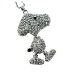 Флешка Собака со стразами серебряного цвета