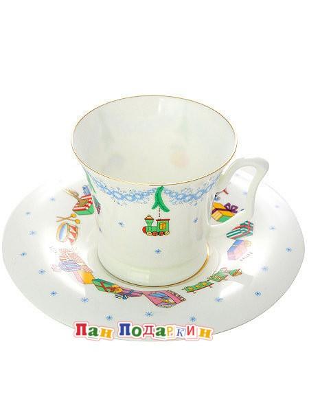 Кофейная чашка с блюдцем Ёлка