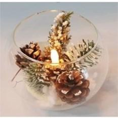 Новогодняя композиция с шишками и LED подсветкой