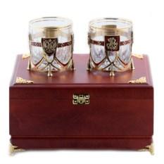 Набор из двух бокалов для виски в деревянной шкатулке
