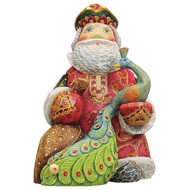 Шкатулка «Дед Мороз с павлином»