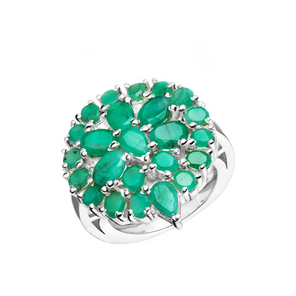 Оригинальное серебряное кольцо с изумрудами (берилл)