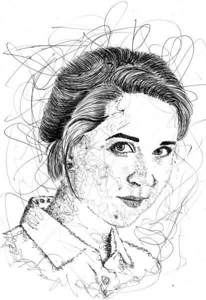 Женский портрет ручкой