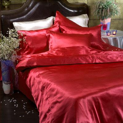 Шёлковое постельное белье Home sweet home Red