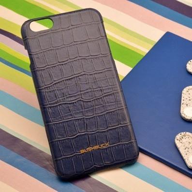 Синий кожаный чехол-накладка для iPhone 6S Plus / 6 Plus
