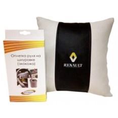 Подарочный набор (подушка, оплетка руля из экокожи), Renault
