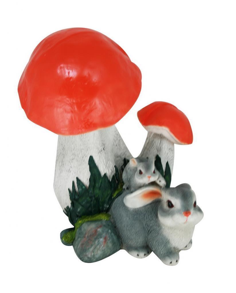 Садовая фигура Грибы подосиновики с двумя зайцами