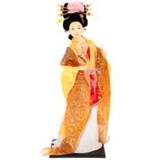 Кукла декоративная Гейша в бело-золотом кимоно