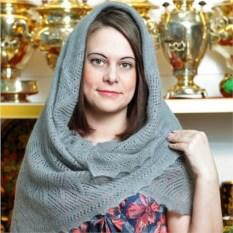Пуховый оренбургский платок (серый, 100х100 см)