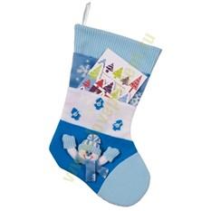 Новогодний носок для подарков с карманами, голубой
