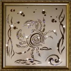 Картина с кристаллами Swarovski Рак 35х35 см
