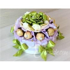 Декорированная коробка с печеньем Зеленый торт