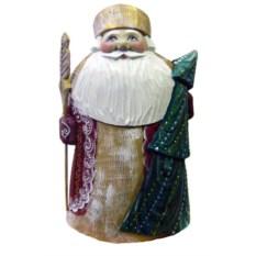 Игрушка из дерева Дед Мороз с елкой, высота 22 см