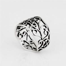 Широкое кольцо «Завитки» с патиной