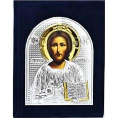 Серебряная икона в бархатном футляре Иисус Христос