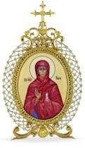 Серебряная настольная икона с финифтьевым образом Святой праведной Анны
