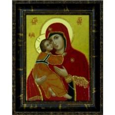 Икона с кристаллами Swarovski Владимирская Божья Матерь