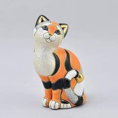 Керамическая статуэтка с позолотой Кошка Калико