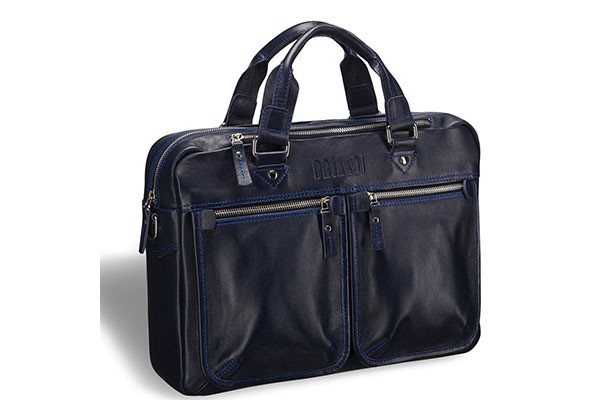 Деловая темно-синяя сумка для документов Brialdi Parma