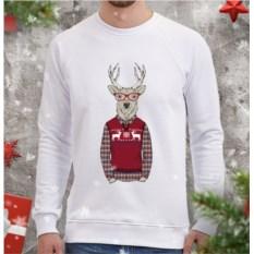 Мужской свитшот Олень-хипстер в свитере с оленями