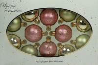 Набор ёлочных игрушек, шарики розовые и зеленые, 7 см