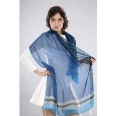 Женский синий шелковый палантин в горошек Ungaro