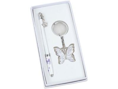 Набор: шариковая ручка, брелок с шильдом «Бабочка»