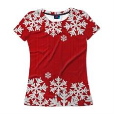 Женская футболка 3D Снежинки