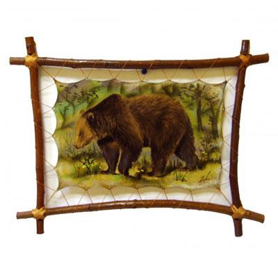 Картина на коже «Медведь весной»