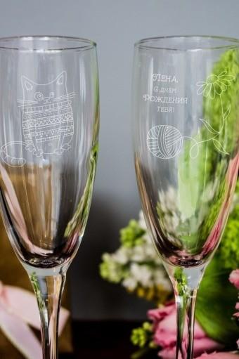 Набор бокалов для шампанского с текстом Котенок