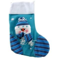 Носок для новогоднего подарка «Снеговик в зимний день»