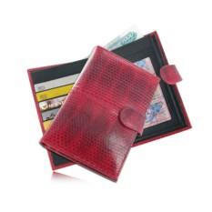 КРасное портмоне для документов из кожи морской змеи