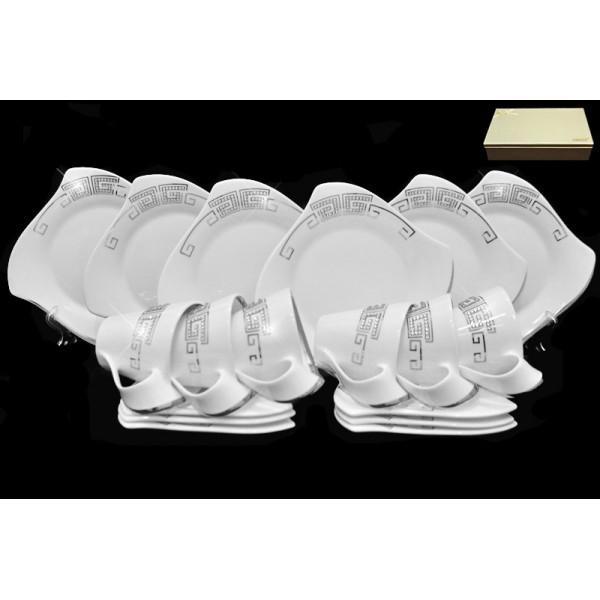 108-165 Чайный набор 18 предметов Givenchi platinum в подарочной упаковке. Фарфор