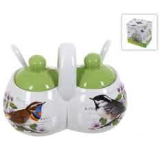 Двойная банка для специй с ложками Birds