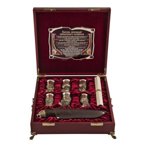 Подарочный набор в ларце с ручками Охотничий с панно