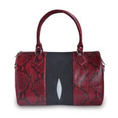 Черно-красная женская сумка из кожи ската и питона