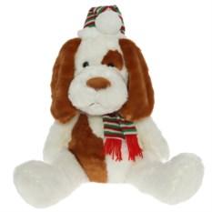 Бело-рыжая мягкая игрушка Собака в шапке и шарфике (54 см)