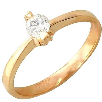 Помолвочное кольцо с 1 бриллиантом весом 0.26 карат