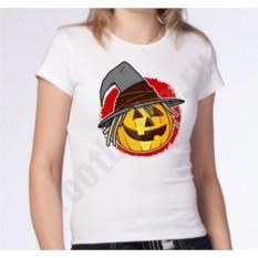 Женские футболка на halloween Тыква в шляпе