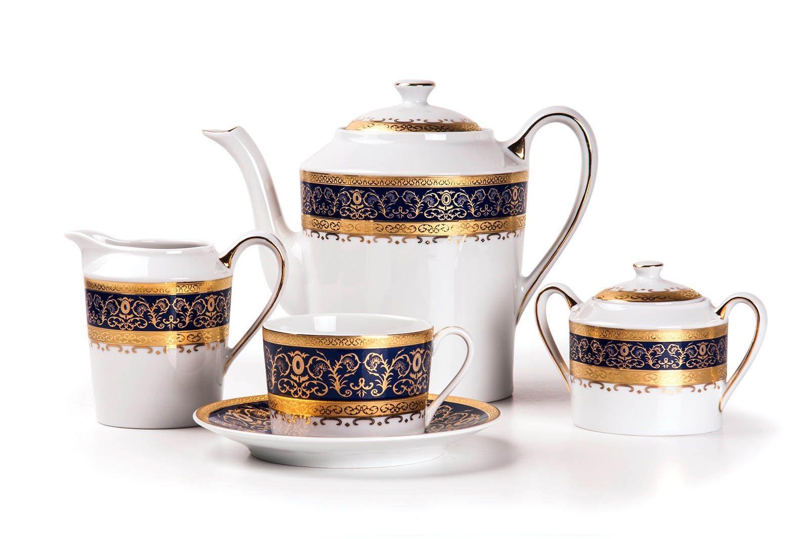 Фарфоровый чайный сервиз на 6 персон PRAGUE BLEU MIMOSA
